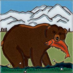 Hand Painted Ceramic Tile Grizzly Bear American by PacificBlueTile, $29.95