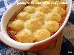 Arome si culori : Galuste de cartofi in sos picant Cantaloupe, Fruit, Food, Essen, Meals, Yemek, Eten