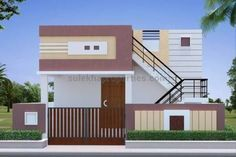New exterior colors coastal house plans Ideas House Front Wall Design, Single Floor House Design, Village House Design, Simple House Design, Front Design, Gate Design, 20x40 House Plans, Indian House Plans, House Design Pictures