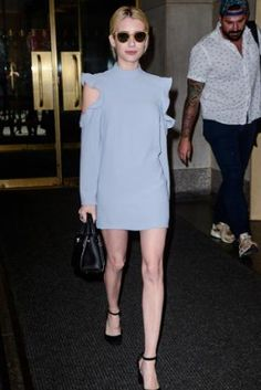 Emma Roberts wearing Dior Mini Diorever Bag, Garrett Leight Clare V. Sunglasses, Wai Ming Dunn Ruffled Dress with Shoulder Cut-Outs and Saint Laurent Babies Suede Pumps