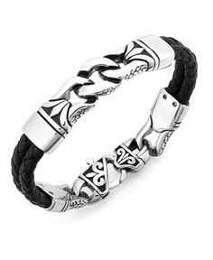 Kay Jewelers Men s Bracelet Braided Leather Stainless Steel Mens