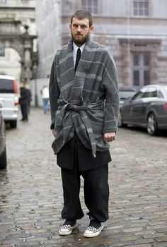 LN-CC's John Skelton wearing a coat by Damir Doma. Photo by Phil Oh, Street Peeper.