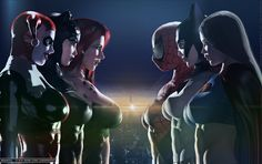 Harley Quinn, CatWoman, Poison Ivy, Spider-Girl, Batgirl & Supergirl...The Trinity Squads             Superheroine Comic Series... fi...