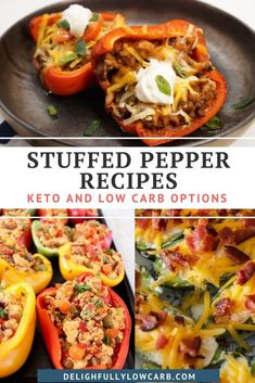 Stuffed peppers are a great keto meal option. Bell peppers are low in carbs and make a perfect vessel for so many different fillings. Try these great recipes to keep your keto dinner rotation fresh and exciting. | Stuffed Pepper Recipe | Main Dish Recipe | Keto Recipe | Low Carb Recipe | #recipe #stuffedpepper #keto #lowcarb Best Low Carb Recipes, Low Carb Dinner Recipes, Keto Dinner, Lunch Recipes, Great Recipes, Keto Recipes, Healthy Recipes, Low Carb Lunch, Low Carb Breakfast