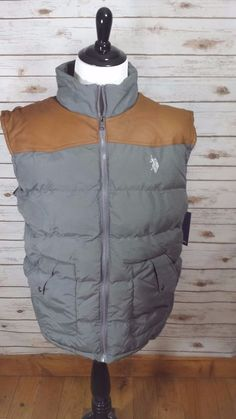 U.S. Polo Assn Faux Leather Yoke Puffer Vest Gray Tan Size XXL Western Cowboy #USPOLOASSN