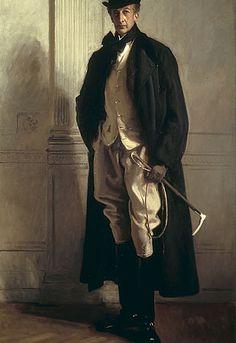 John Singer SARGENT.Lord Ribblesdale.19세기 남성들을 사로잡았던 댄디는 단순한 수트에 만족하지 않고 섬세한 장식과 소품들로 멋을 냈다. 당시 상류계층과 신흥부르주아계급들의 사교활동이 활발했는데, 몽떼스쿠 백작은 사교계에서 단연 눈에 띄는 귀족이었다. 세련된 대화술과 복장으로 파리 사교계를 주름잡았다. 댄디는 몽테스쿠 백작과 같이 옷과 겉 모습에 신경을 많이 쓰고 그것을 즐겼던 19세기 남성들이었다. 댄디는 세련된 옷차림, 재치와 지적이고 오만한 태도를 지닌 우아한 남성멋쟁이를 가리킨다. 그들은 유행복장이 프랑스풍 화려한 왕가의 복장이 영국풍의 간결한 신사복으로 교체되면서 어둡고 밋밋한 복장에 개성을 살리기 위해 외모에 신경썼던 남성들이었다. 이전에는 프랑스가 패션을 리드했지만 18세기 후반부터는 영국이 남성복의 유행의 주도권을 잡기 시작했다. 당시 근대사회의 주역은 남성부르주아 집단이었다. 새로운 복장은 품위를 유지하면서 간소하고 기능적인 영국풍…