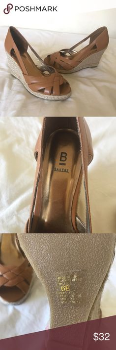 BNWOT Bakers Tan Wedges Size 6, brand new never worn! 😊 I would model but I couldn't get my feet into them, lol 🙄 Bakers Shoes Wedges