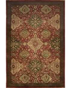 Handmade Rectangular Persian Tabriz Area Rug in Red with Green Accents, 4x6
