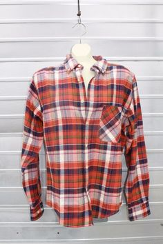 Woolrich Mens Plaid Flannel Shirt Small NEW Red Blue Button Down Collar #Woolrich #ButtonFront
