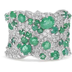 Effy Jewelry Effy Brasilica 14K White Gold Emerald and Diamond Ring,... ($5,500) ❤ liked on Polyvore featuring jewelry, rings, diamond jewelry, 14 karat white gold ring, diamond rings, emerald ring and 14 karat gold jewelry