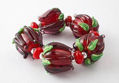 Lampwork Beads - Large Red Roses