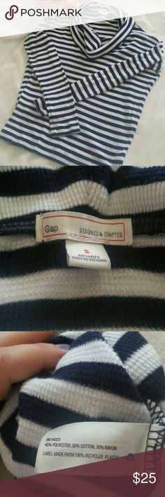"""GAP Striped Blouse Small Very good condition  Oversized,  relaxed Size Small Shoulder to shoulder 17"""" Armpit to armpit 22"""" Armpit to hem 16"""" Navy blue white GAP Tops Tees - Long Sleeve"""