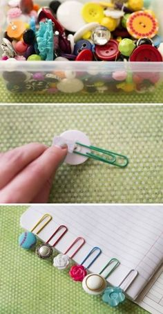 Crafts school things yourself with these great DIY craft ideas- Schulsachen selber basteln mit diesen tollen DIY Bastelideen Crafts school things yourself – button bookmarks – instructions - Kids Crafts, Cute Crafts, Creative Crafts, Crafts To Make, Easy Crafts, Arts And Crafts, Button Crafts For Kids, Room Crafts, Craft Gifts