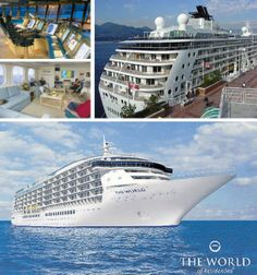 """""""The World"""" Cruise ship is considered to be the world's largest private yacht. It is a floating residential neighbourhood owned by its residents which are currently from 40 various countries. They live on board and sail circumnavigating the world.  The World Cruise Ship stays in ports from 2 to 5 days. There are people that stay onboard full time others stop-over at their sea residence at regular intervals throughout the year. It has 130 fully furnished residences."""