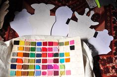 Our felt colour chart for the women to make felt bags and other goods.