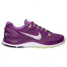online retailer eba8d 48caf Chaussures Nike Lunarglide+ 5 pour courir Femme Pourpre   Blanche   Volt  solde