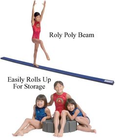 Roll up the balance beam to put it away, for safe at-home practicing. 12',long! $37 shipped.