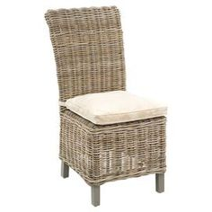 "Woven natural rattan Parsons chair.Product: Chair  Construction Material: Rattan  Color: Natural    Features:   Rattan is dipped in hot mud for about two weeks to give it a rich color  Staining process enhances its performance against outdoor elements  Perfect for outdoor covered areas Cushion included  Dimensions: 41"" H x 19"" W x 24"" D"