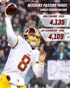 Congrats to #Redskins QB Kirk Cousins on breaking the franchise single-season passing yardage record. Washington Redskins's photo.