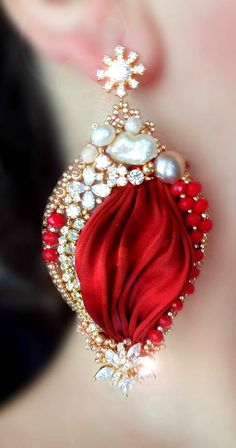 ~~Beaded and Shibori Silk Christmas Earrings   Serena Di Mercione Jewelry~~