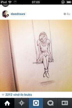 Drawing girl on swing