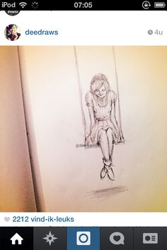 Drawing girl on swing