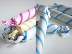 Repackage candy with tissue paper for party favors