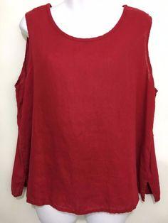 Flax Womens M Red Linen Sleeveless Tank Top #Flax #TankCami #Versatile
