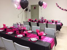 Black , pink and silver sweet 16