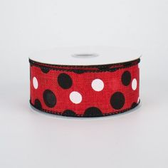 """1.5"""" Canvas Polka Dots Ribbon: Red, Black & White (10 Yards) Deco Mesh Ribbon, Wired Ribbon, Fabric Ribbon, Craft Outlet, Halloween Deco Mesh, Sewing Trim, Striped Canvas, Red Glitter, Christmas Deco"""