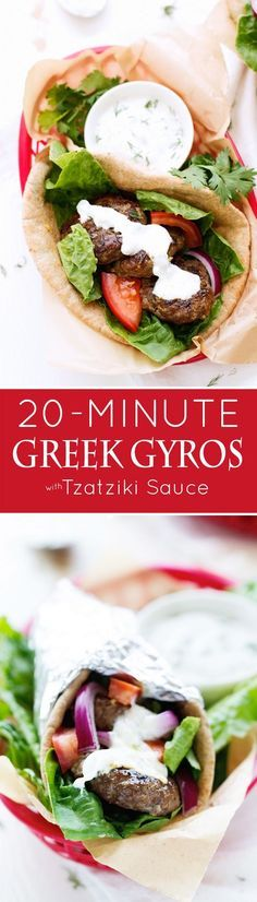 20 Minute Greek Gyros with Tzatziki Sauce - A GREEK classic turned into a QUICK + EASY Weeknight dinner! #gyros #greekgryos #chickengryos | Littlespicejar.com