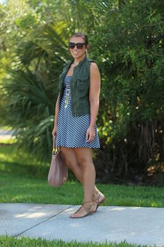 What to Wear to a Backyard BBQ (Living After Midnite) Bbq Outfits, Casual Outfits, Fashion Outfits, Army Vest, Striped Dress Outfit, Backyard Bbq, What To Wear, Personal Style, Street Style