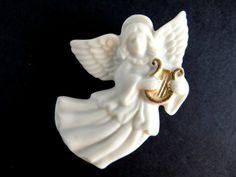 Vintage Lenox Porcelain Angel Pin/Brooch by TimelessTreasuresbyM on Etsy