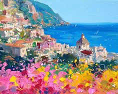 Romantic Positano Fine Art Print on Paper and Canvas (8x10 11x14 16x20 20x25 24x30 30x38) Amalfi Italy Coast Wall Art Home Decor Kitchen Living Room Bedroom Christmas Gifts for Her Agostino Veroni #affiliate