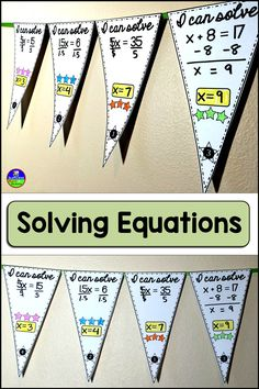 1-step equations. In this collaborative solving equations activity, students solve equations that can be solved by either adding, subtracting, multiplying or dividing. Some equations also include fractions or decimals.  If you are looking for more of a challenge for your students, here is a set of pennants with 2-step equations to solve: Solving Equations Pennant {2-step}  This download includes 20 pennants, an optional student answer sheet and an answer key. Once a pennant is complete, it c