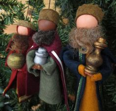 three wise men ornament set nativity scene clothespin ornaments the magi three kings christmas decor peg doll ornament exchange