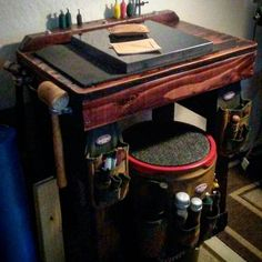 Repost from @vinty_hippage -  My custom mobile leather workbench getting dialed in! I built this to keep in the back of my car...so I can go anywhere and tool and create my custom wallets!  #vintyhippage #leather #leatherwork #leathercraft #leathergoods #leathertools #maker #craftsman #leatherstudio #leathersmith #altier #leatherworkbench #tooling #stamping #tandyleather #handcrafted #handsewn #handstitched #leathershop #craftool #barryking #alstohlman #csosborne #handmade #handtooled…