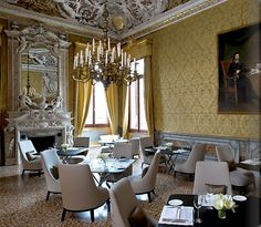 Aman Canale Grande Hotel, Venice Italy hotel hotels and restaurants Grand Canal, B & B, Venice Italy Hotels, Yellow Dining Room, Grande Hotel, Italia Design, Hotel Interiors, Best Interior, Interior Design