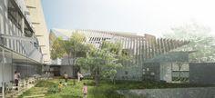 """Tradicionalmente, los entornos hospitalarios están aislados del mundo natural, y estructurados en torno a la eficiencia, a pesar de sus efectos en la salud del paciente. Más allá de esto, Kengo Kuma & Associates ha presentado sus planes de reemplazar un centro médico de envejecimiento en Setagaya (Tokio) por un """"modesto"""" y""""activamente abierto"""" hospital en torno a un jardín verde."""