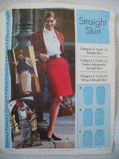 Womens Clothing Pattern Straight Skirt SEWING STEP BY STEP Uncut All Sizes 4-22 #SewingStepByStep #CareerWear