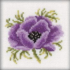 """Anemone Counted Cross Stitch Kit-4""""X4"""" 14 Count"""