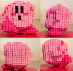 sandylandya@outlook.es  3D Kirby perler beads by eightbitbert on deviantART