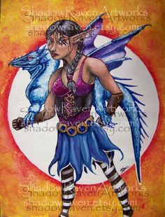Lady and Her Dragon 95 x 125 giclee print by TwoBlueRavens on Etsy, $15.00