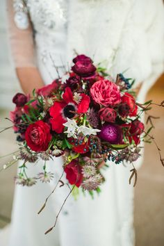 Winter Museum Stylish Wedding Red Bouquet http://www.elliegillard.co.uk/