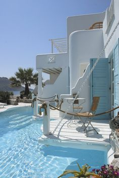 "Love the idea of a ""pool balcony""  Vip suite with private pool at Kivotos Hotel, Mykonos"