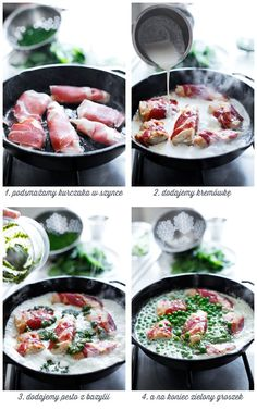 Fillets of chicken in Parma ham / bacon with pesto sauce and peas ~ Polish, translate Parma Ham, Pesto Sauce, Crockpot, Slow Cooker, Main Dishes, Bacon, Curry, Chicken, Dinner