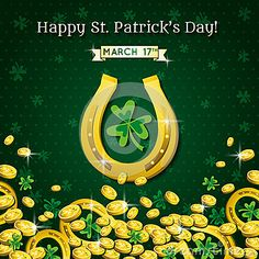 Background for St Patricks Day with horseshoe and golden coins, vector