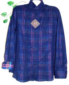 Paul & Shark Yachting Double Layered Blue Purple Plaid Men's Italy Shirt Sz L  #PaulSharkYachting #ButtonFront