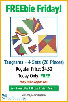Get today's FREEbie Friday deal: 4 Sets of Tangrams (28 Total Pieces). Hurry, while supplies last! -->  http://www.mpmschoolsupplies.com/add/?redeem=FF10340&product=10340&utm_source=pinterest&utm_campaign=freebie%20friday&utm_medium=social%20media&utm_content=10340