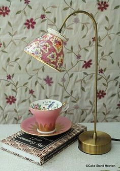 "Tea cup lamp, not a hugh ""teacup"" fan but, this is so cute. Cute for a kitchen counter/nook, reading table or night stand. Not My China But maybe some from the thrift store Tea Cup Lamp, Diy Luminaire, Teacup Crafts, Teacup Decor, Thrift Store Crafts, Thrift Stores, Brass Table Lamps, Desk Lamp, Brass Lamp"